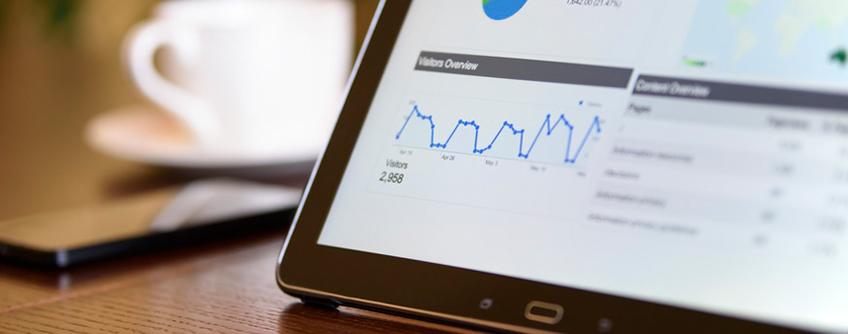 A screenshot of Google Analytics data displayed on an iPad.