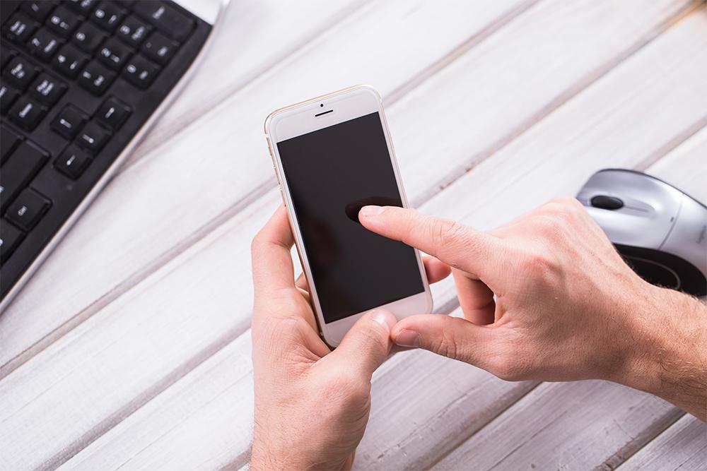 mobile optimised website on phone