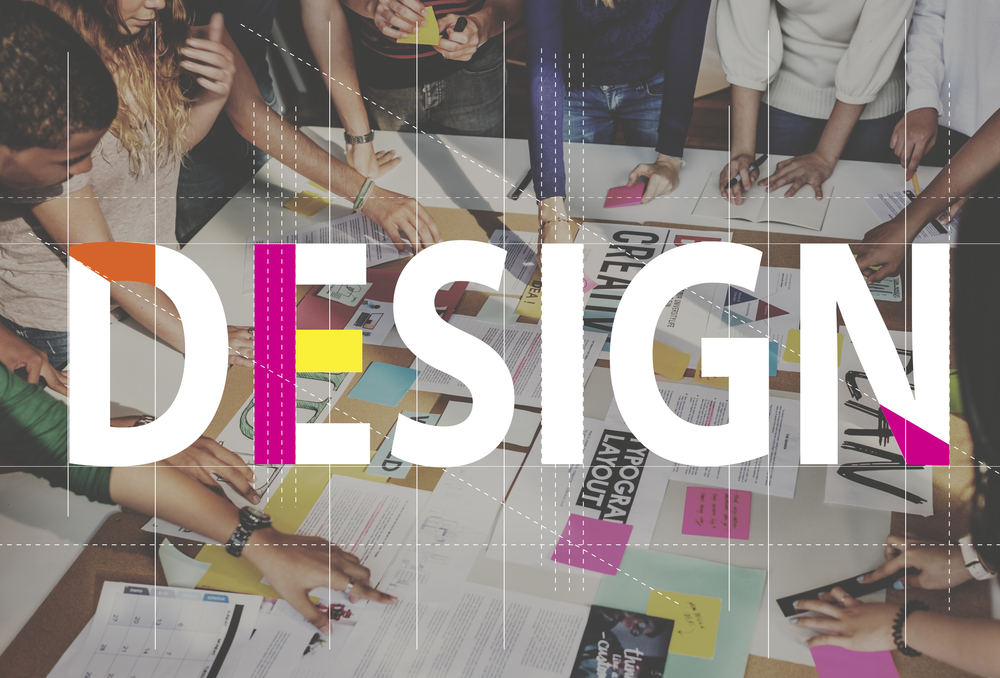Design graphic with a team of designers working in background