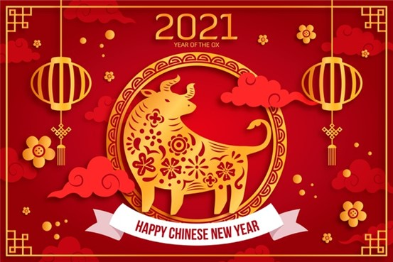 Year of the Ox red banner