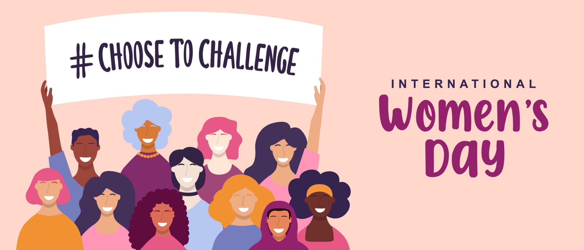 Castle's international women's day 2021 graphic, drawing of women holding #choose to challenge banner