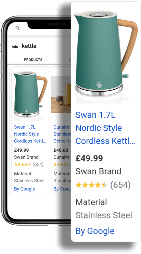 Two phones displaying Swan products on Google