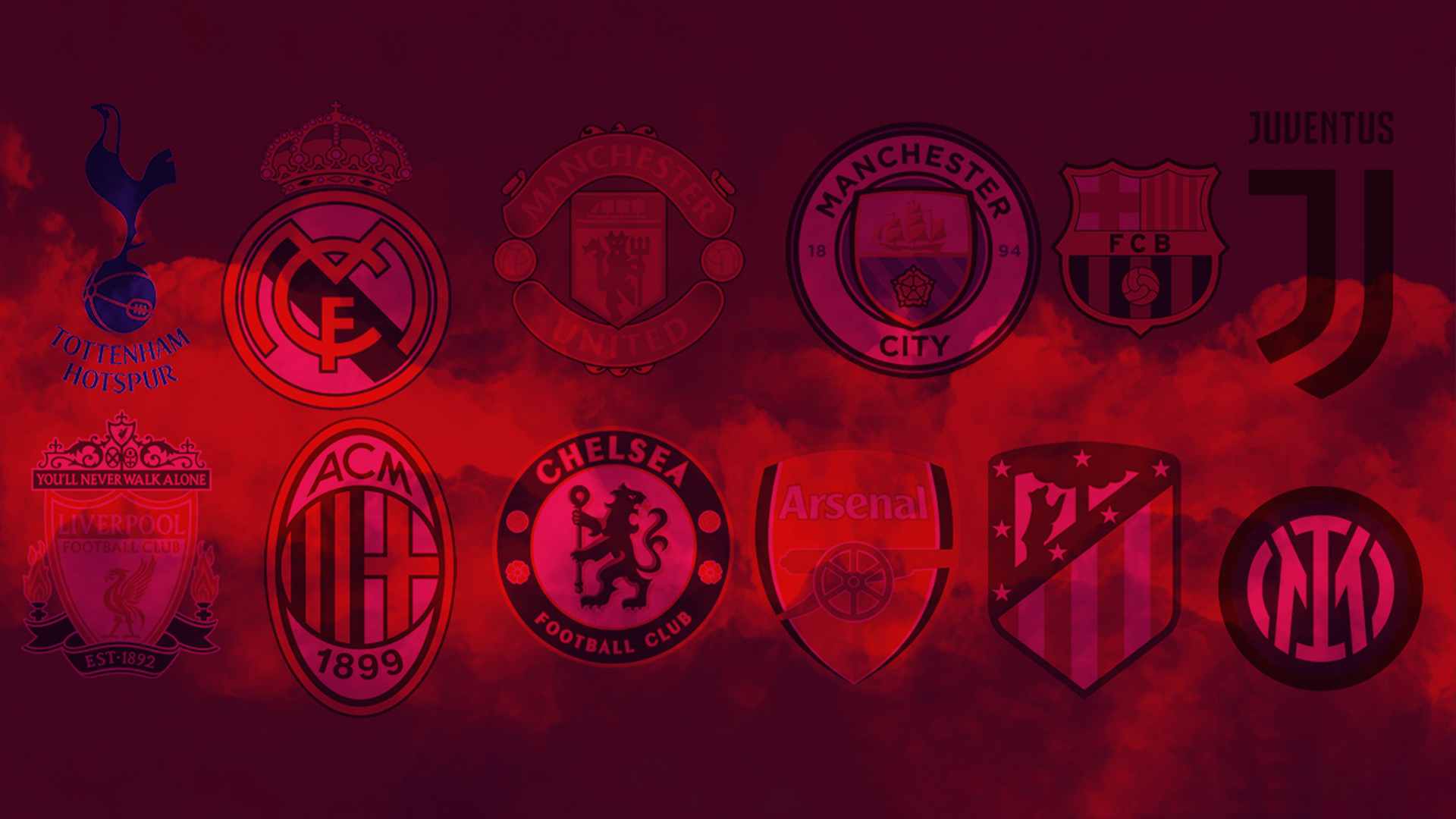 A various selection of Football crests displayed over a red cloud. The various clubs are those who were planning on joining The Super League, these being: Tottenham Hotspur, Real Madrid, Manchester United, Manchester City, Barcelona, Juventus, Liverpool, AC Milan, Chelsea, Arsenal, Athletico Madrid and Inter Milan.