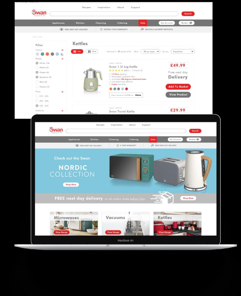 A MacBook and screen of Swan's website