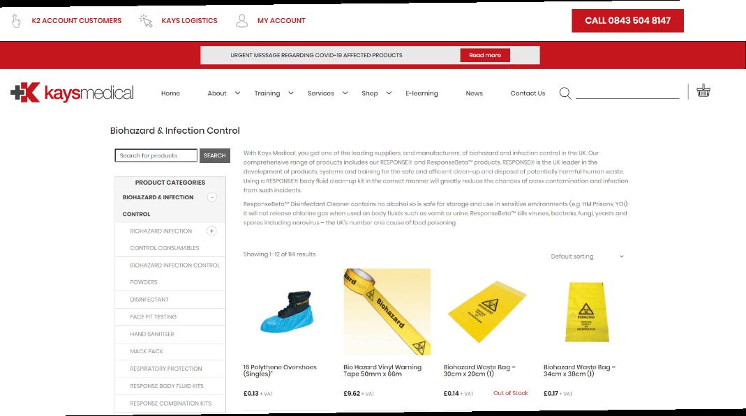A screenshot of the Kays Medical website.