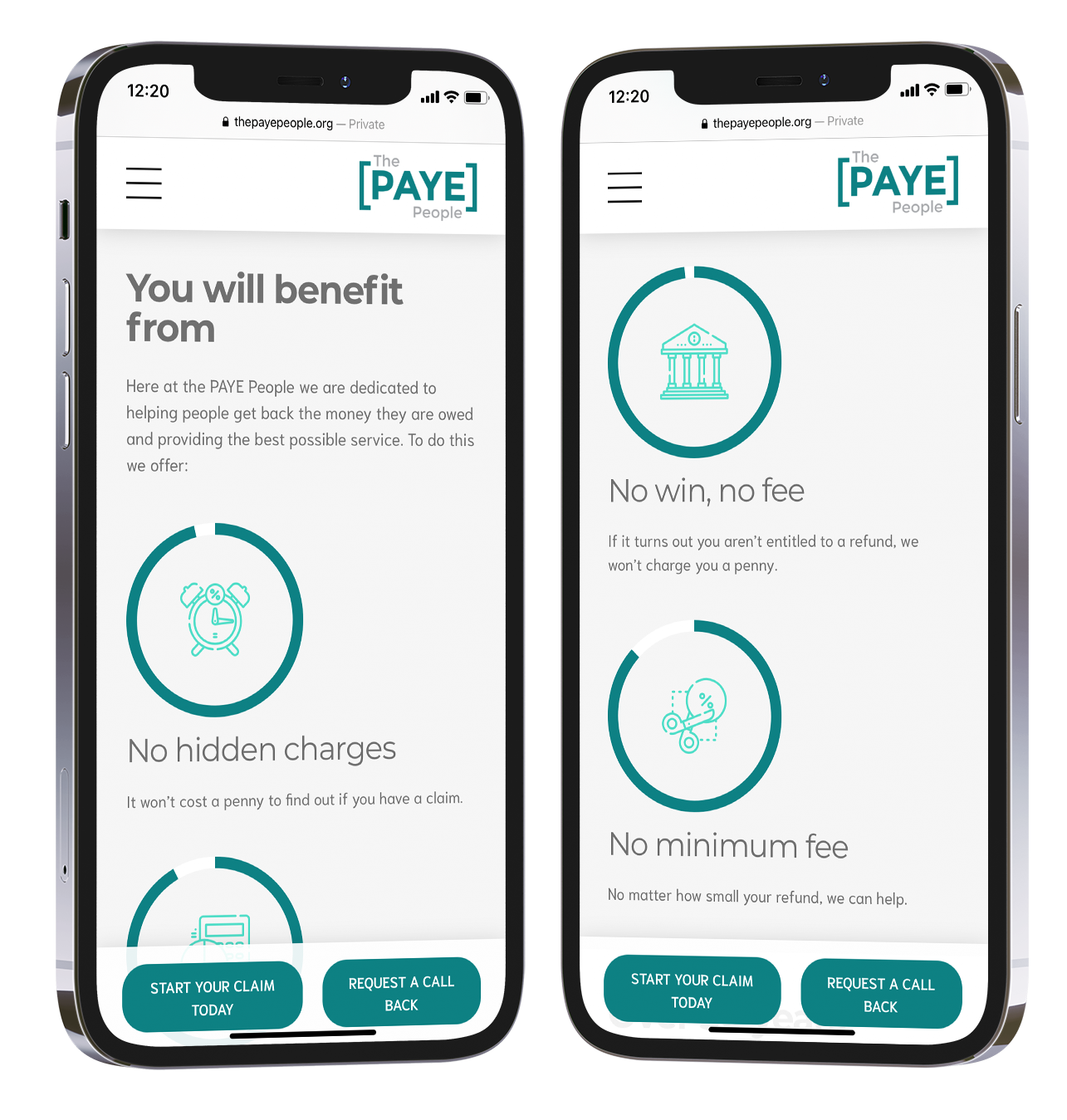 A screenshot of two iPhones with the PAYE People interface displayed on both screens.