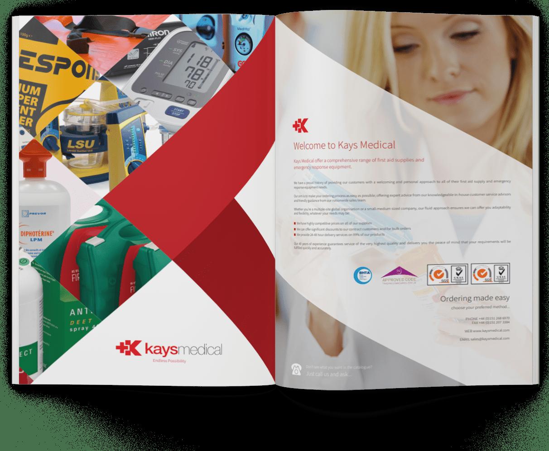 A selection of Kays Medical brochure mockups