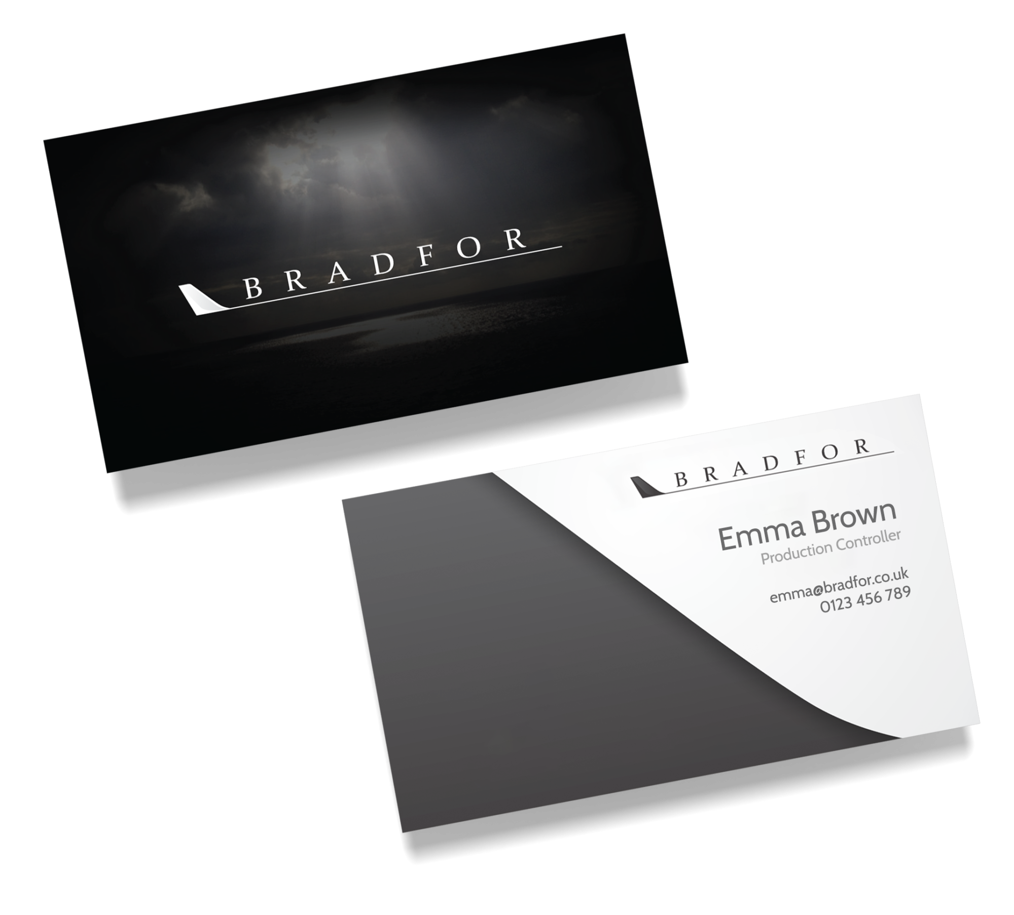 A front and back of the Bradfor business cards.