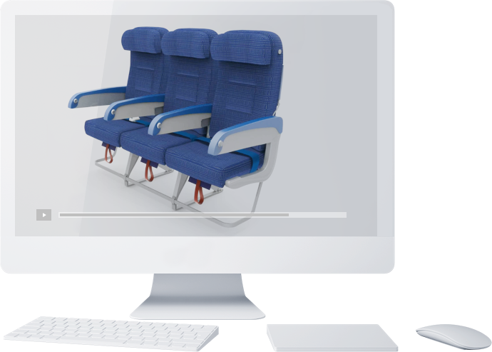 Corporate animated video example created by castle of three blue plane seats