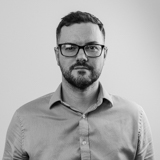 A black and white image of the Head of ECommerce for Castle, Edward Potter.