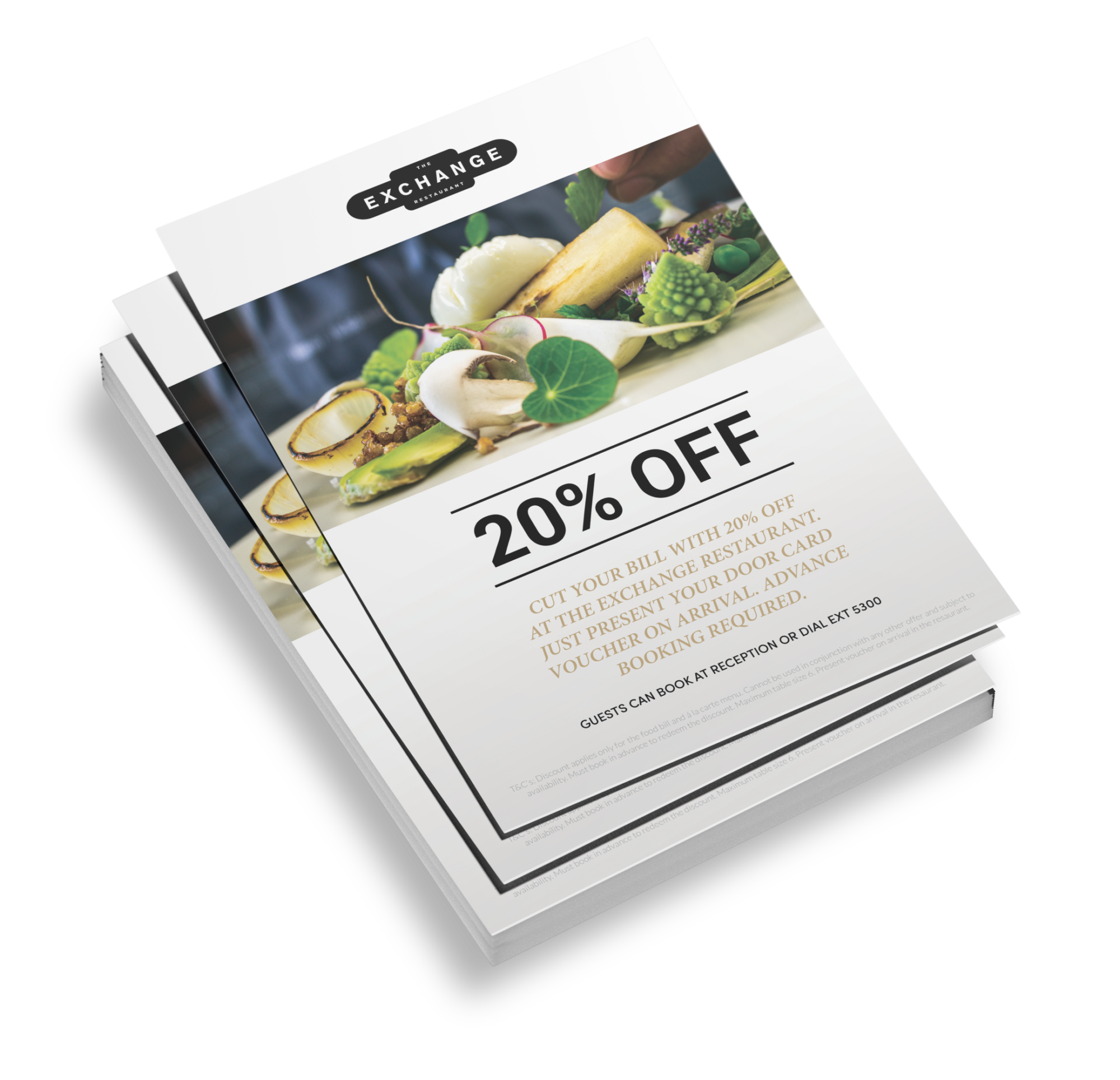 A flyer of the Hilton showcasing a 20% off incentive.
