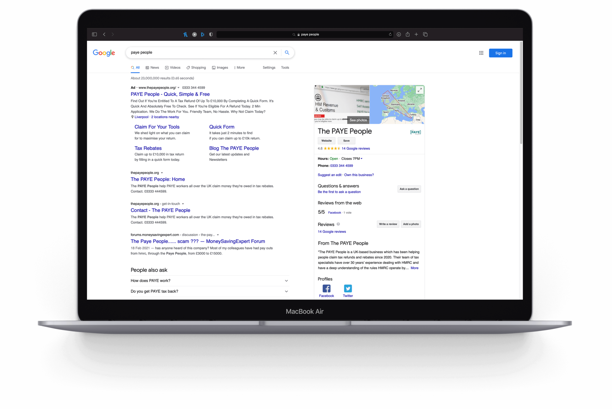 A Macbook Air with a screenshot of a Google search for the paye people. From the search, the PAYE people website is shown along with a Google Ad campaign that's seen at the top of the search results.