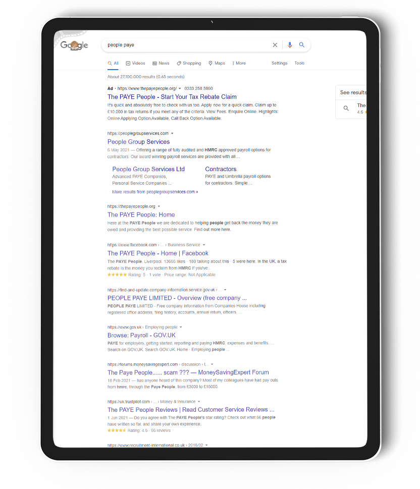 An iPad with a screenshot from a Google search displaying The PAYE People PPC ranking results.