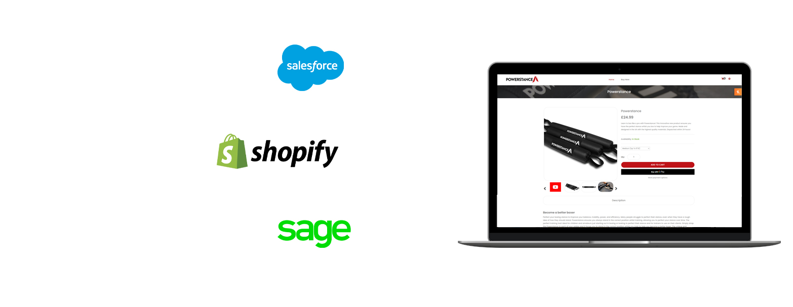 image of laptop showing Powerstance website next to salesforce, shopify, and sage logos