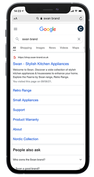An iPhone with a screenshot of a Google Search for Swan Brand. The results show the Swan website being featured at the top of the list.