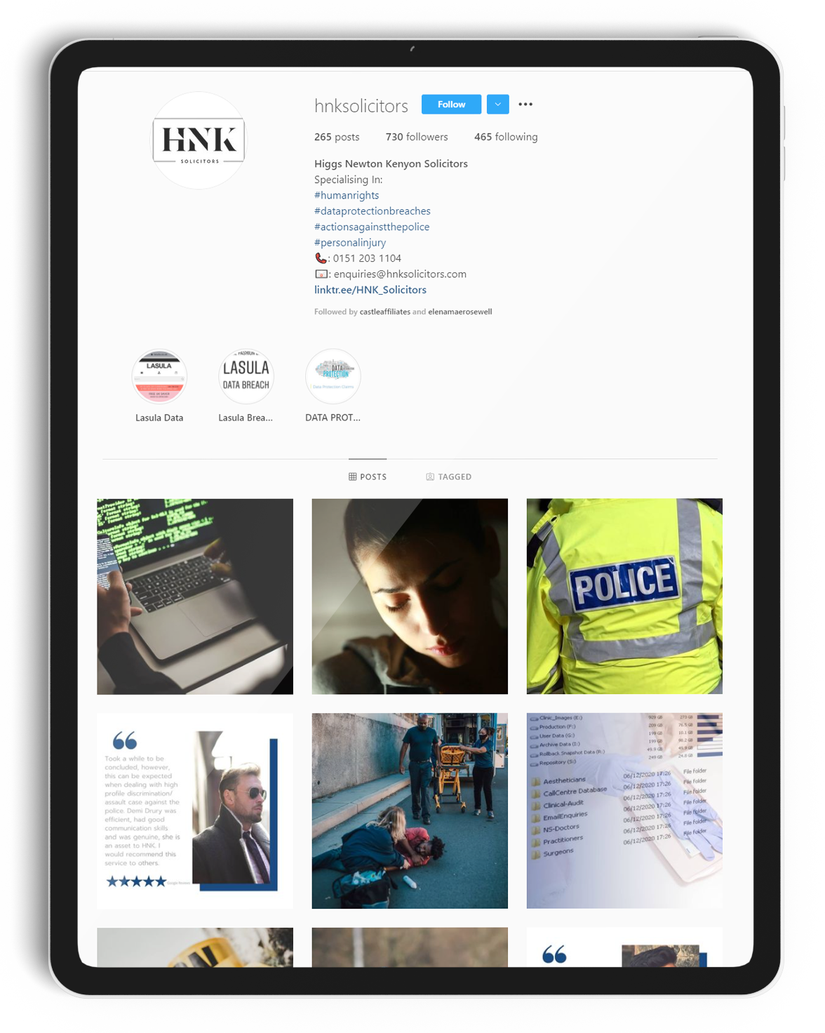 The HNK Instagram page displayed on an iPad.