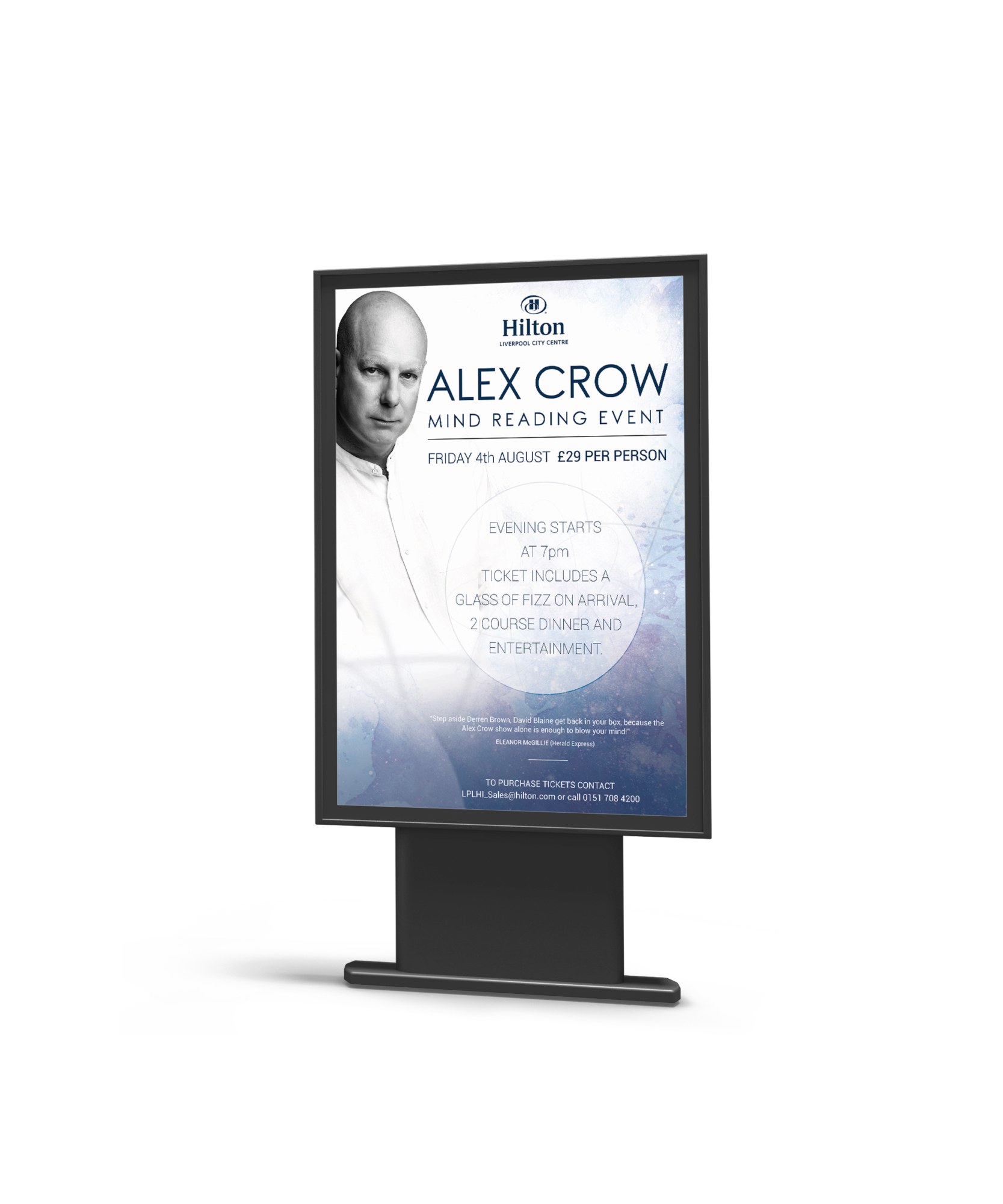 A banner for an event hosted by Hilton, the event is an Alex Crow mind reading event