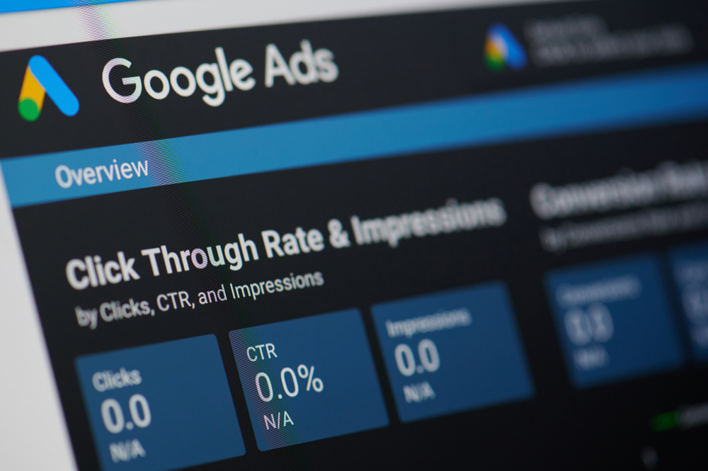 A screenshot of the Google AdWords interface showing: clicks, click-through rate and impressions. An important aspect for a successful Ad campaign is to gain an understanding to what is quality score in Google Ads.