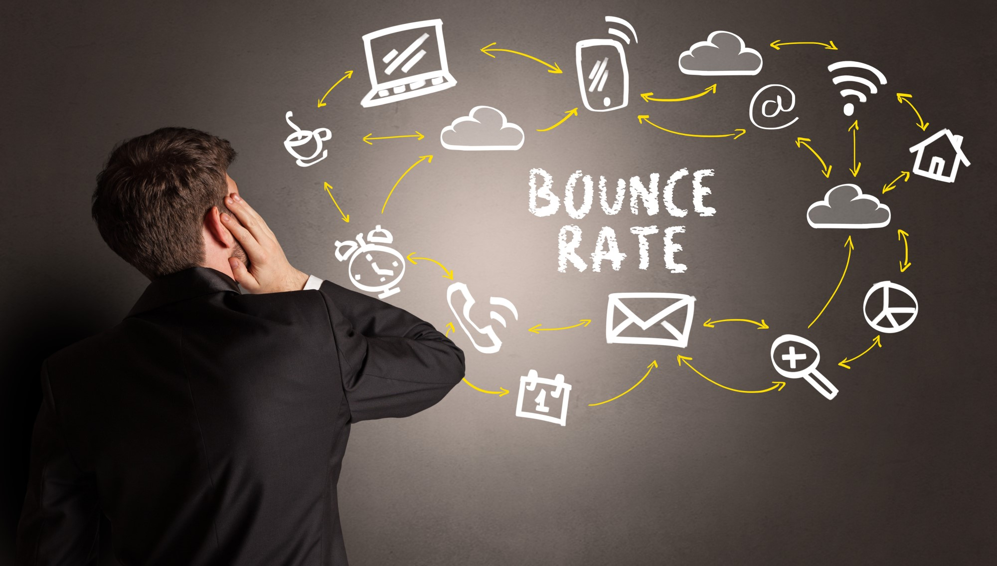 A person in a business suit confused as to what bounce rate is.