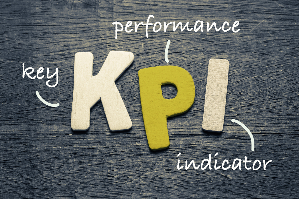 A wooden table with letters spelling 'kpi' to show that it stands for key performance indicators.