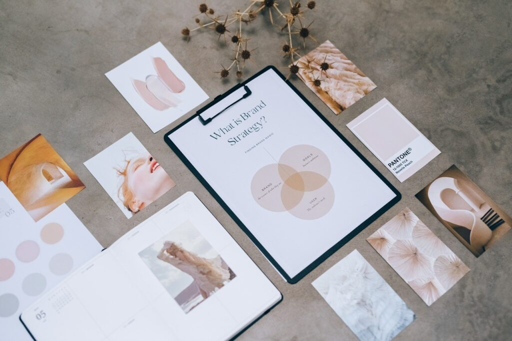 A selection of branding material to showcase what is a brand strategy.