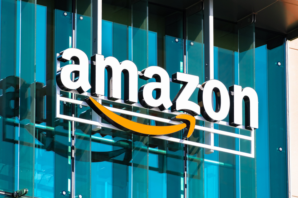 The Amazon logo outside of one of the Amazon buildings showcases the importance of the arrow in the logo for corporate branding.