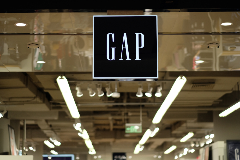 The GAP logo displayed above one of their stores demonstrating the Gap rebrand disaster in 2010.